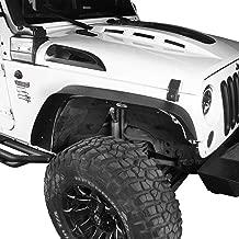 Hooke Road Wrangler JK Fender Flares, Front & Rear Steel Flat Rough Country Fender Armors for 2007-2018 Jeep Wrangler JK & Unlimited - Set