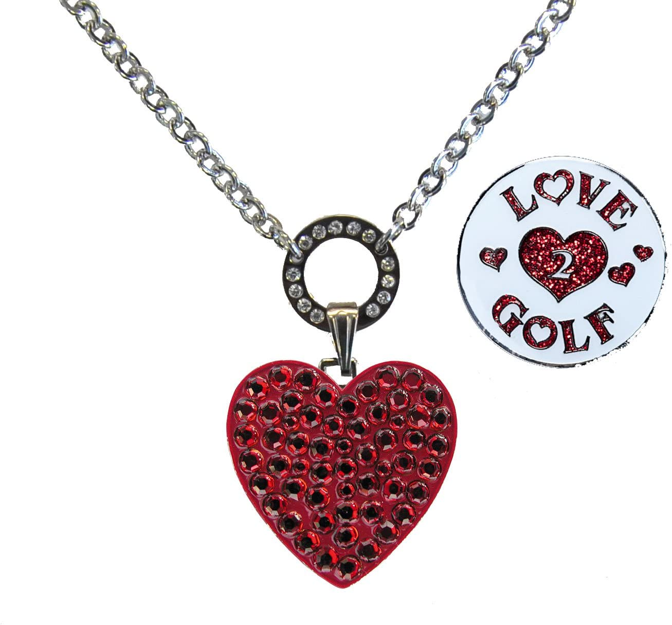 Navika Magnetic OFFicial All stores are sold store Ball Marker Necklace Red Adorned Heart with
