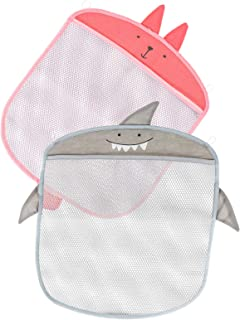 TOYANDONA 2pcs Bath Toy Organizer Mesh Storage Net Rabbit Shark Design Baby Bathtub Game Holder for Baby Bath Toys More (P...
