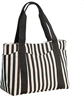 Women's Tote Bag Striped Canvas Shoulder Bags Top Handle Beach Handbag