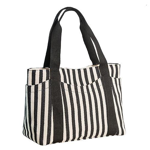 Lavogel Women s Tote Bag Striped Canvas Shoulder Bags Top Handle Beach  Handbag 8aa4e58ad6e29