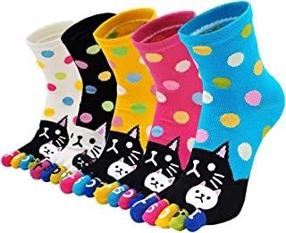 Calcetines Divertidos de Algodón para Mujer Calcetines con Dedos Separados, Calcetines con Dibujos de Animal Perro Gato, Calcetines Invierno, talla 36-41, 5 pares