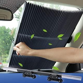 Tysonir Car Windshield Sun Shade, Retractable Sun Shade, Sunshade to Keep Your Vehicle Cool and Damage Free, UV Sun and Heat Reflector, Easy to Use, 2019 New.