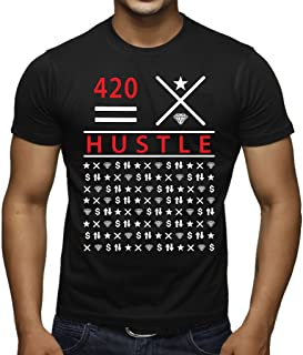 Interstate Apparel Inc Men's 420 Hustle Black T-Shirt Black