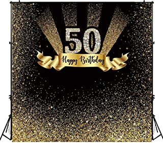 Funnytree 6x6ft Gold and Black 50th Birthday Photography Backdrop Adult Golden Glitter Diamonds Shiny Background Fifty Years Old Age Party Decoration Photo Banner Photobooth Props