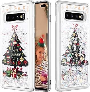 Caka Christmas Case for Galaxy S10 Plus (Not S10) Glitter Case Bling Liquid Snowflake Silver Liquid Luxury Quicksand Flowing Soft TPU Girls Women Glitter Case for Samsung Galaxy S10+ Plus (Tree)