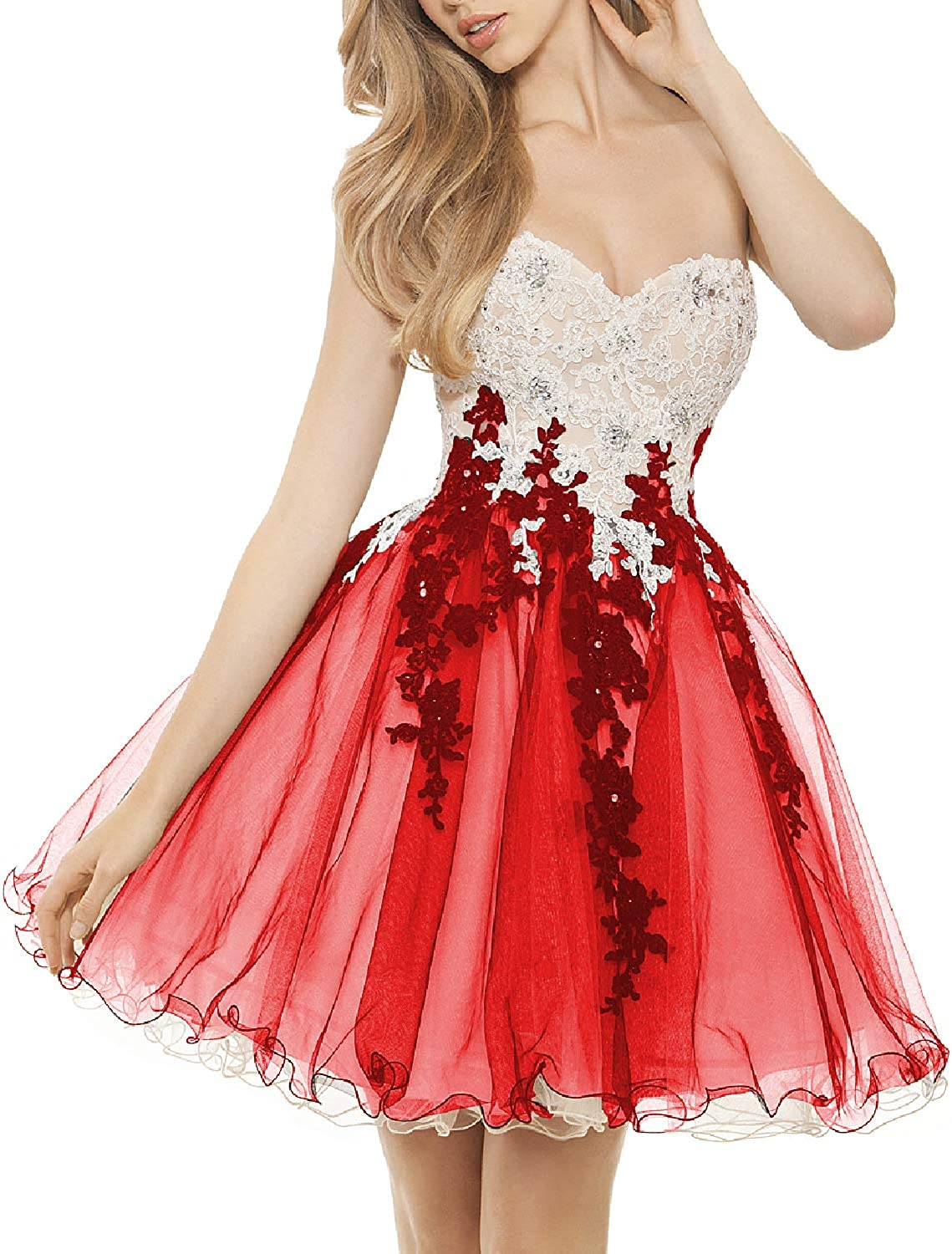 EverBeauty Womens Sweetheart Lace Applique Homecoming Dress Short Tulle Prom Party Gown