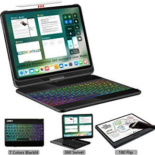 LENRICH iPad pro 12.9 case with Keyboard 2020 4th Gen Backlit,7 Color Backlight 360 Rotatable Wireless Smart Folio 180 flip Swivel Stand Hard Shell Cover with Pencil Holder Auto Sleep/Wake Black