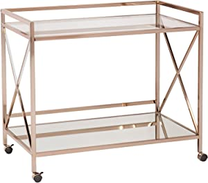 SEI Furniture Maxton Metallic Open Shelf Bar Cart, Gold