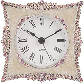 NIKKY HOME Crystal Elegant Small Quartz Analog Table Clock with Rosy Rhinestone 3.5 by..