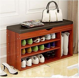 SHBV Étagère à Chaussures 3 Niveaux Étagère à Chaussures Armoire à Chaussures Banc à Chaussures avec Banc relevable et Cou...