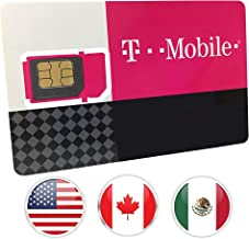 Canada, Mexico and USA Prepaid SIM Card T-Mobile 10GB 4G LTE Data in USA and 5GB Data in Canada and Mexico with Unlimited Talk and Text among and within Canada, Mexico and USA for 30 Days