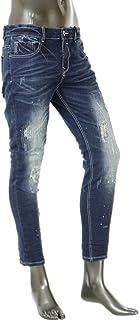 ダメージペンキ加工 クロップドパンツ メンズ デニム ストレッチ 9分丈 アンクル丈 ジーンズ V300604-01HH