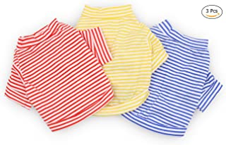 DroolingDog Dog Clothes Pet Striped T-Shirt for Small Dogs, Pack of 3