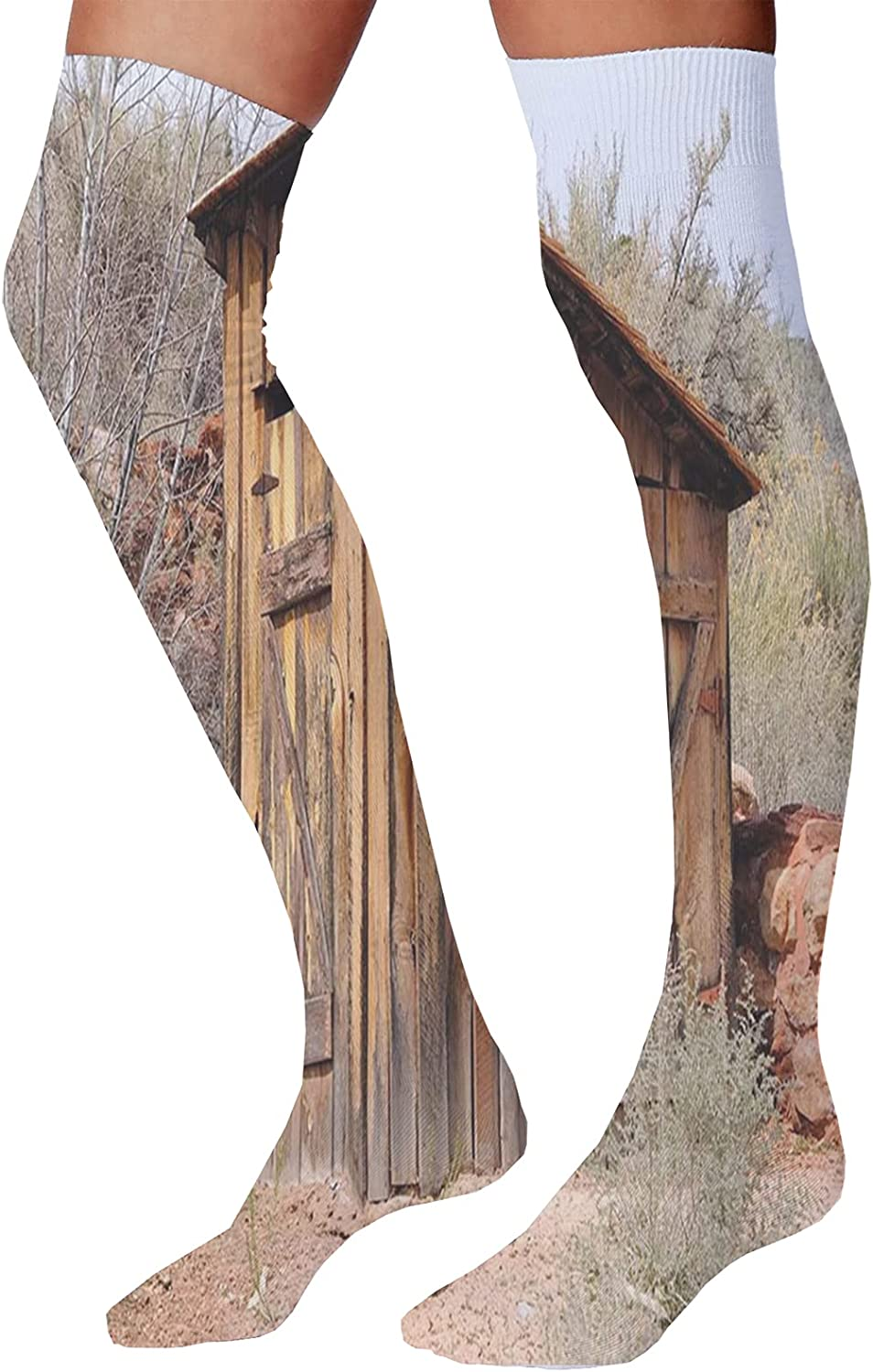 Men's and Women's Fun Socks,Old Withered Oak Crown Without Leaves Tree Branches Rustic Theme Illustration