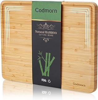 Godmorn Planche à découper en Bambou, Grande Planche à découper de Cuisine avec rainure pour Le jus, 2021 Planche en Bois ...