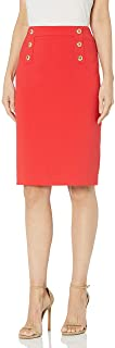 Tahari ASL Women's Fitted Pencil Skirt with Buttons