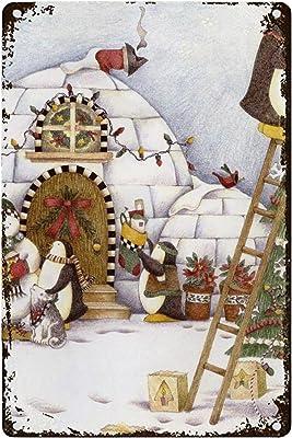 SOUWO Retro Tin Sign for Home, Pub, Bar, Restaurant,Wall Christmas Penguin