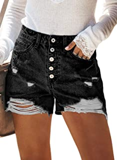 Sidefeel Women Vintage Denim High Waist Rolled Hem Jeans Shorts