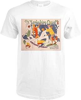The Yorkshire Coast Vintage Poster (artist: Cooper) UK c. 1920 74789 (Premium White T-Shirt X-Large)