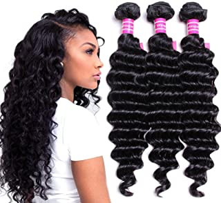 "VRVOGUE Remy Brazilian Human Hair Deep Wave Bundles (14"" 16"" 18"" 20"") 100% Unprocessed Brazilian Virgin Human Hair Weave Extensions Natural Color"