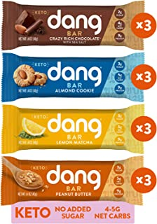 Dang Keto Bar | 4 Flavor Variety | 12 Pack | Keto Certified, Vegan, Low Carb, Low Sugar, Plant Based, Non GMO, Gluten Free...