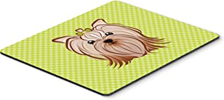 Caroline's Treasures Checkerboard Lime Green Yorkie Yorkishire Terrier Mouse Pad/Hot Pad/Trivet (BB1266MP)