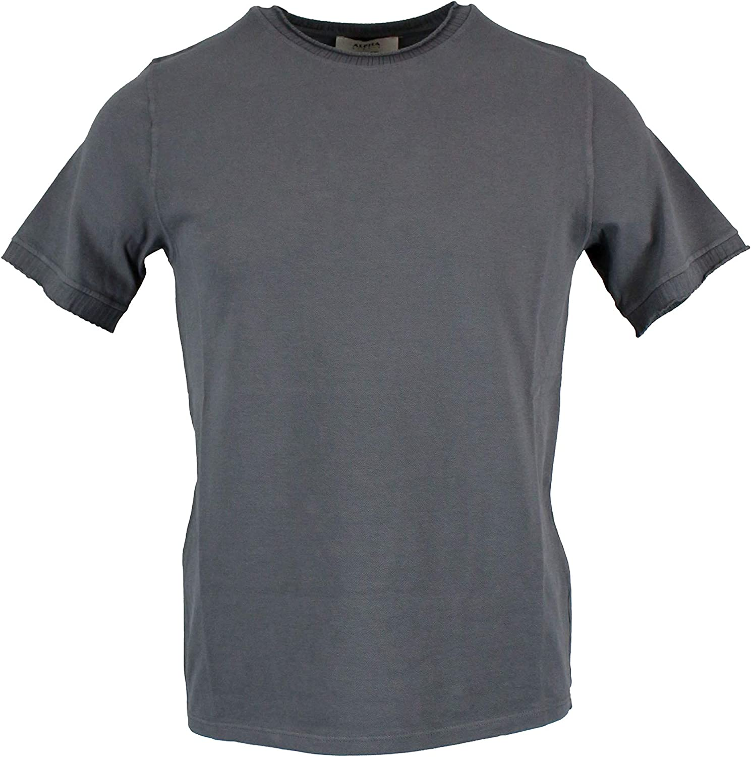 ALPHA STUDIO Men's AU9434C6123 Grey Cotton TShirt