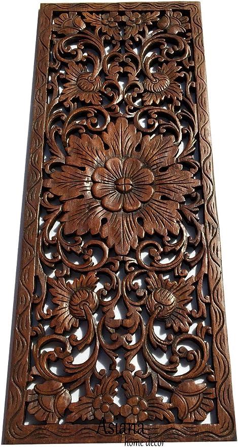 B.Carved Wood Panel 4pcs//set w Flowe