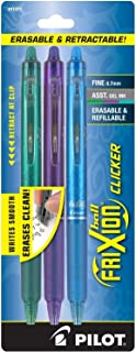 PILOT FriXion Clicker Erasable, Refillable & Retractable Gel Ink Pens, Fine Point, Green/Purple/Turquoise Inks, 3-Pack (31473)