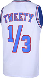 TUEIKGU Mens Basketball Jersey 1/3 Tweety Space Jersey S-XXL White/Black