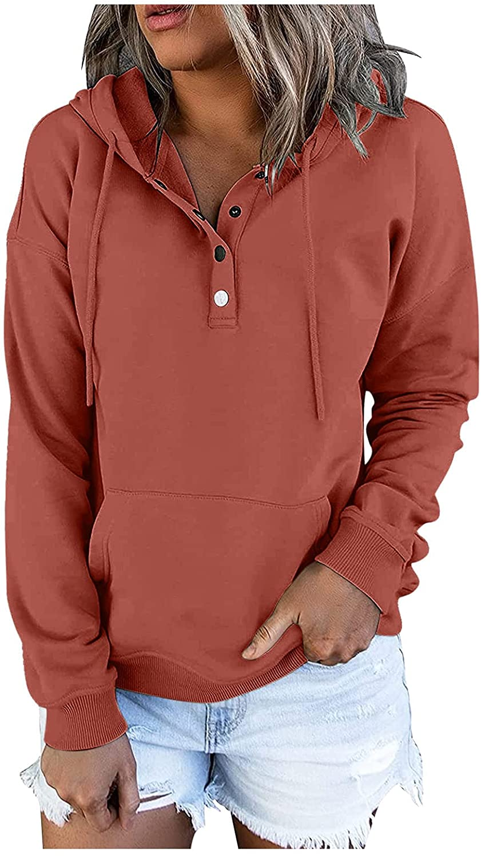 HONGJ Pullover for Womens, Fall Snap Button Hoodies Drawstring Pocket Casual Long Sleeve V Neck Hooded Sweatshirts