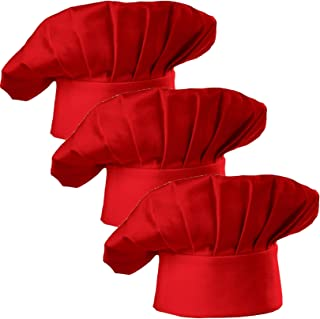 Hyzrz Chef Hat Set of 3 Adult Adjustable Elastic Baker Kitchen Cooking Chef Cap, Red
