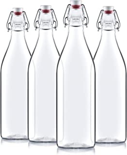 Bormioli Rocco Giara Clear Glass Bottle With Stopper [Set of 4] Swing Top Bottles Great for Beverages, Oil, Vinegar | 33 3...