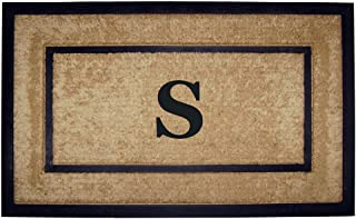 Nedia Home Single Picture Black Frame with Coir Rubber Border Dirt Buster Mat, 22 by 36-Inch, Monogrammed S