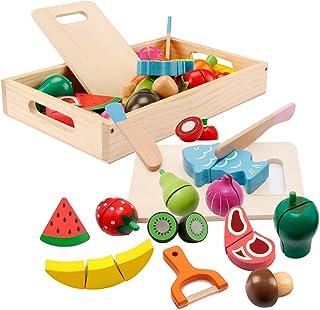 mysunny Frutas y Verduras Juguete para Cortar, Cocina Comida de Juguete, Juguetes de Madera Accesorios Cocina para Niños, ...
