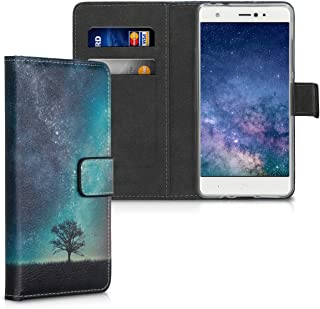 kwmobile Wallet Case for bq Aquaris X/X Pro - PU Leather Protective Flip Cover with Card Slots and Stand - Blue/Grey/Black