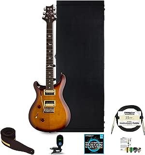 PRS SE Custom 24 Left Handed Electric Guitar with ChromaCast Hard Case, Strap, Tuner, Strings, Picks & Strap, Tobacco Sunburst