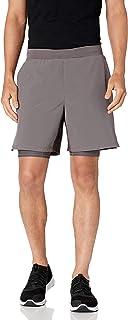 Peak Velocity Amazon Brand Men's 7'' Knit Waistband Training Short with Boxer Brief