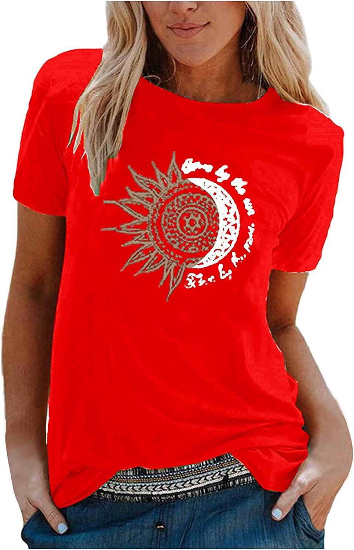 Summer Women's T-Shirt Sun and Moon Credence Short Print Sleeve Sale item Pattern C
