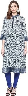 RIDAN Women's Jaipuri Cotton Regular Straight Fit Kurta/Kurti top Tunic Blue