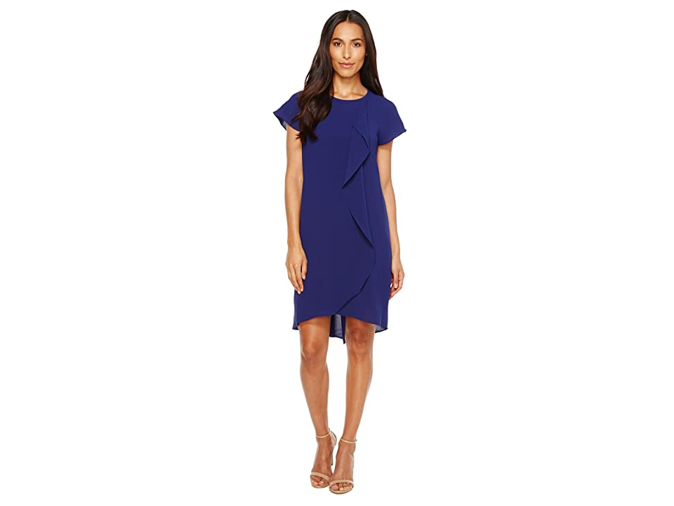Adrianna Papell Gauzy Crepe Corkscrew Drape Shift Dress with Short Sleeves (Blue Sapphire) Women
