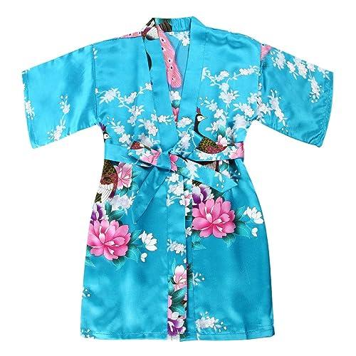 6e8cac0718 WONDERFIT Girls Stain Kimono Peacock Flower Robe for Spa Wedding Birthday