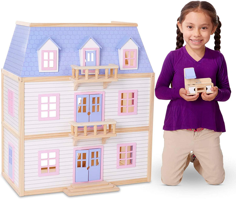 Melissa & Doug Modern Wooden Multi-Level Dollhouse With 19 pcs Furniture...