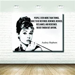 stampepersonalizzate.com - Imprimir en Lienzo - Formato Canvas - Formato 50X30 Solo Lienzo - Imprimir en Calidad fotográfica - Pinturas Mujer - Reproducción SU Lienzo ARTISTICA Audrey Hepburn