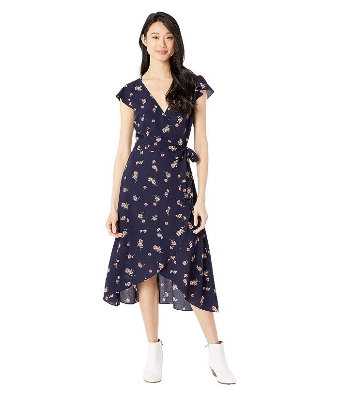 BB Dakota  April Showers Scattered Daisies Printed Bubble Crepe Wrap Dress (Oilslick) Womens Clothing
