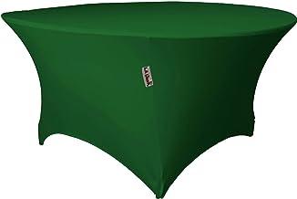 "LA Linen Round Spandex Tablecloth 48"" x 30"" High, Green Emerald"