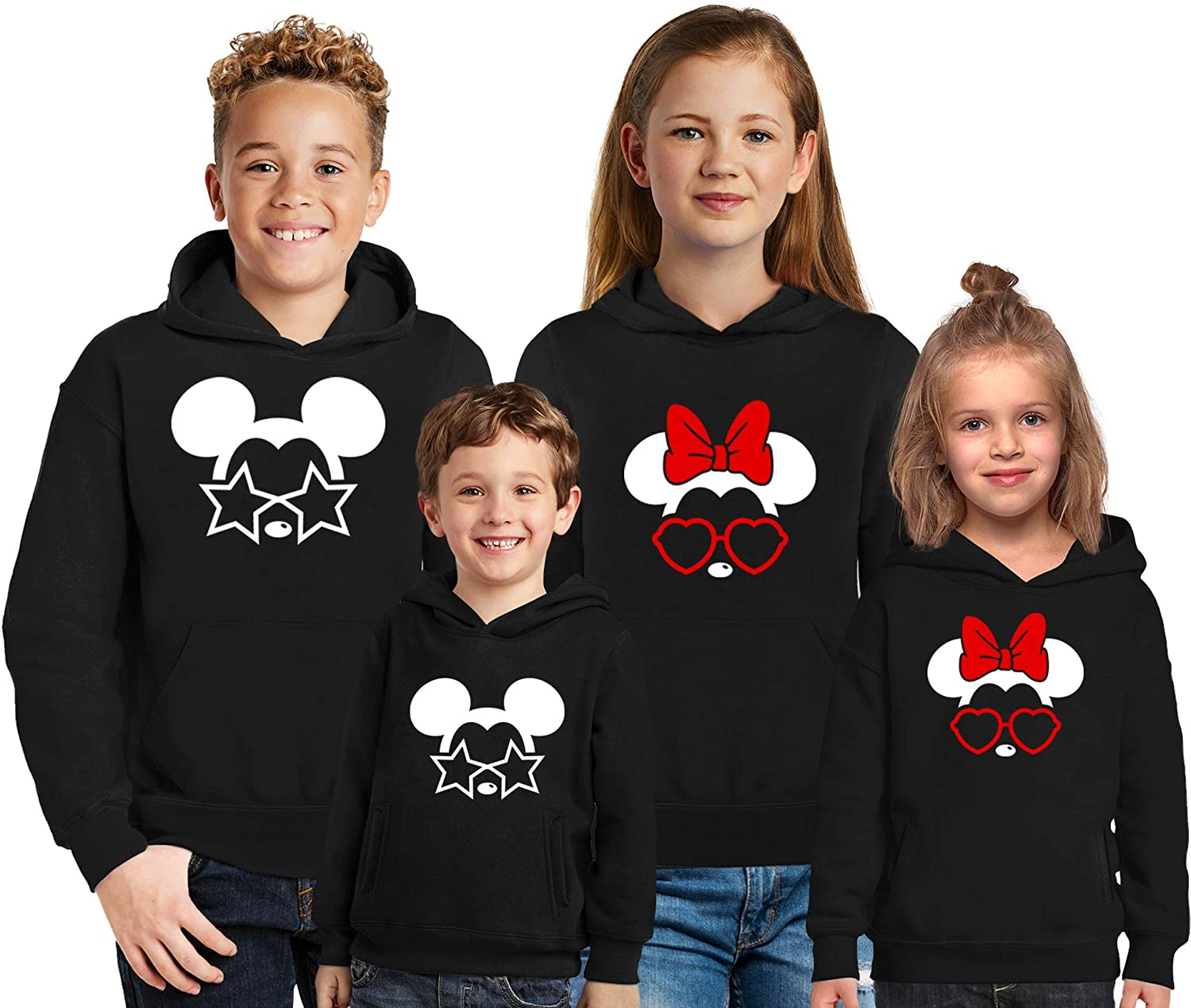 Natural Underwear Family Trip Kids Youth Hoodies 2019#4 Mickey Mouse Minnie Mouse with Stars Hearts Sunglasses Vacation Youth Kids Boys Girls Hooded Sweatshirts Sweaters Black Boys Large