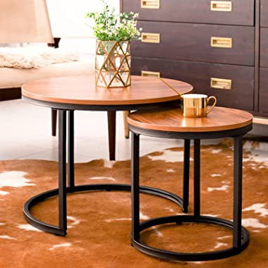 aboxoo Coffee Table Nesting Side Set of 2 End Table Top Sturdy Metal Frame Wood Desk Centerpiece Living Room Bedroom Apartmen