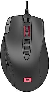 Lioncast LM15 Gaming Maus mit 13 Programmierbaren Tasten (RGB LED Beleuchtung, PAW3327 Optischer Sensor, 6.200 DPI) Ergonomisches Design & Palm Grip mit Gewichtssystem für FPS, RTS und MOBAs